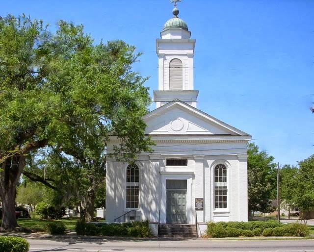 St. John's, Thibodaux, Louisiana, has stood proudly on this corner of Cajun Country since 1844. (June Butler)