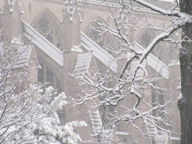 Washington National Cathedral in snow, January 2013. (via Facebook)
