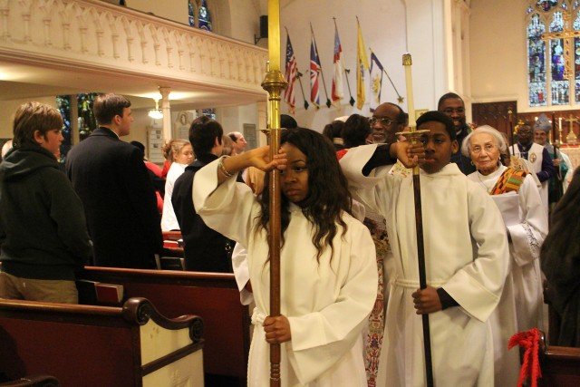 Acolytes lead the recessional to end the Pontifical Eucharist for Absalom Jones Day last weekend at Trinity and St. Philip's Cathedral in the Diocese of Newark, New Jersey. (The Rev. Dr. Lynn A. Collins)