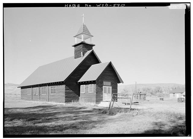 St. David's, Fort Washakie, Wyoming, the first of Fr. John Roberts's churches on the Wind River Indian Reservation. This is a replacement building but the church is still active; you can tell Roberts was a Welshman by the patron saint he chose. (Library of Congress)