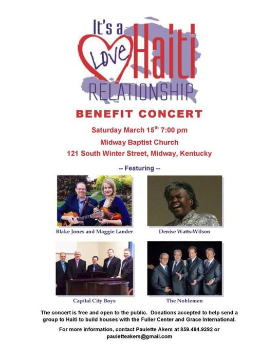 On our sites, we don't just pray online, we work together. Word of this concert near Lexington, Kentucky, raising money for homebuilding in Haiti, has reached all over the world. (Deacon Letha Tomes Drury)