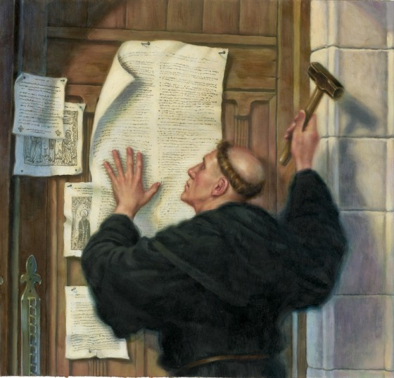 Greg Copeland: Luther Nailing His Theses to the Church Door. Martin Luther was a professor of theology and a former monk whose two central ideas were these: that we are saved by God's grace, not by good works or buying our way out of God's judgment; and that the Bible is the only source of authoritative teaching about God. Both claims were interpreted as attacks on the the authority of popes – and the protest movement for reform was born.
