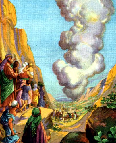 Moses and the Pillar of Cloud. (Providence Lithograph Co., early 20th century, via Wikipedia)