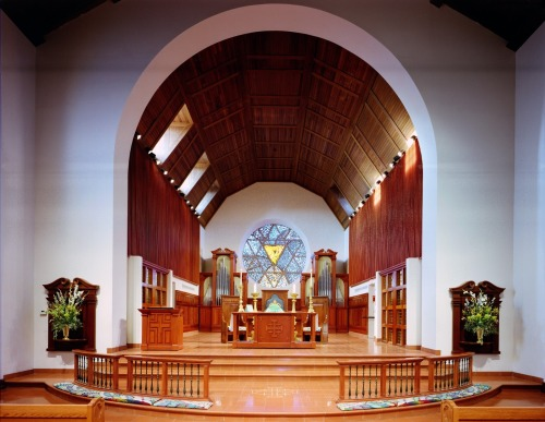 Trinity Cathedral, Phoenix, Arizona, in a photo taken by John Chonka, the architect who restored and renovated it. Notice that while the altar has steps, the rail does not.