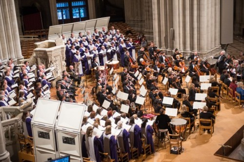 Washington National Cathedral Choral Society, at a recent celebration of Saints Joan of Arc and Hildegard of Bingen; Emily Morgan would have been right at home. (Lisa Helfert)