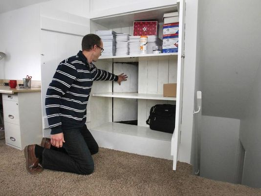 The back wall of the closet is false. (Charlie Nye/The Indianapolis Star)