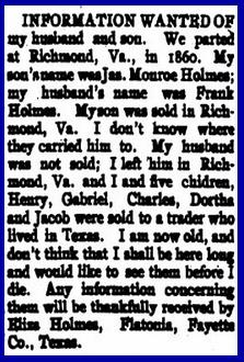 The U.S. Civil War ended in 1865, but thirty years later people still hadn't given up hope of finding their loved ones. This ad appeared in The Christian Recorder in 1896.