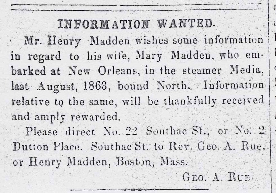 The Christian Recorder had such credibility and reach that people used it to try and locate loved ones who'd been separated by slavery, war and upheaval. This ad appeared in September 1864, a year after a man's wife disappeared. Notice the high literacy and perfect typesetting.