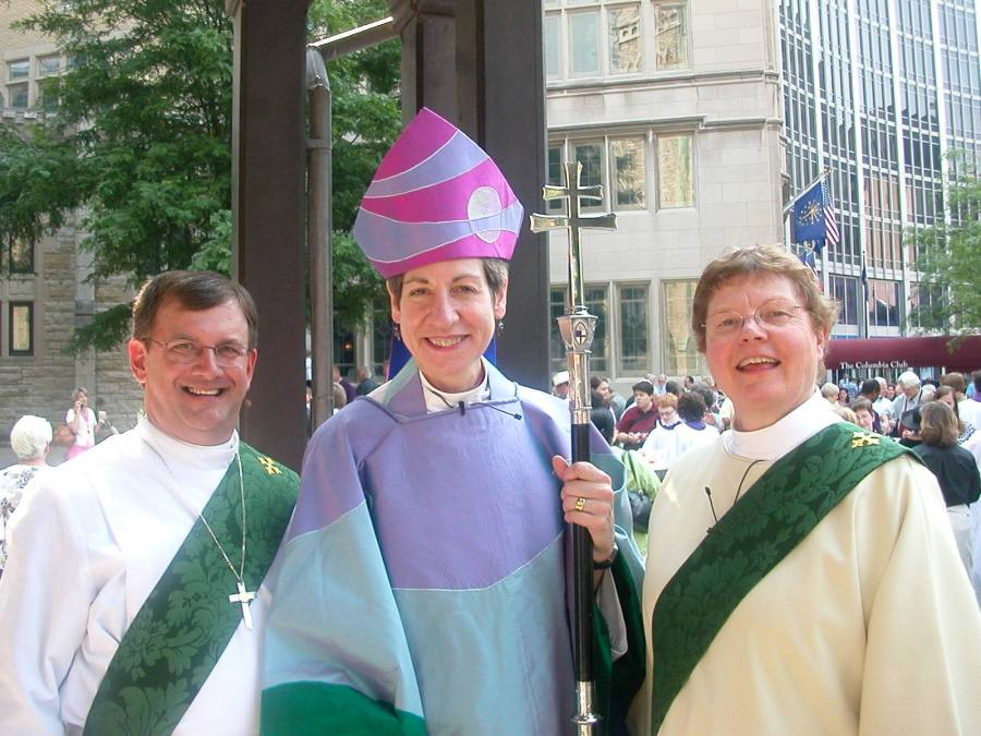 The Presiding Bishop of the Episcopal Church, Katharine Jefferts Schori, with two deacons of Indianapolis, Andrew Klatte (left) and Archdeacon Alice Goshorn, now retired. Deacon Andrew died suddenly last week; we are in mourning for him, and will greatly miss his leadership in the mission field. He made many trips to the Diocese of Bor, South Sudan, whom we remember today in the Anglican Cycle of Prayer. (2012 General Convention photo by Peggy K. Woodhall)