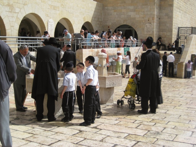 A modern handwashing station at the Western Wall of the Temple in Jerusalem. (The Rev. Andy Morgan)