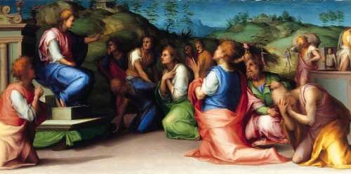 Jacopo Pontormo, 1515: Joseph's Brothers Beg for Help; click to enlarge. (National Gallery)