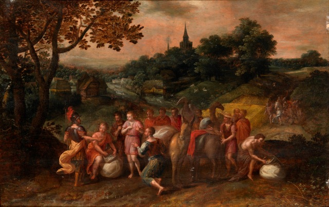 A follower of Hans Jordaens III: Joseph's Brothers on Their Way to Buy Grain; click to enlarge.