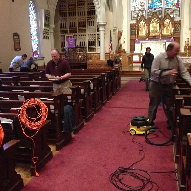 Lenten cleaning last week at Calvary Church, Memphis, Tennessee, USA. There are many ways to make your confession during Lent; cleaning God's house is one of them. God bless those who participate in parish clean-up days. (Chris Girata via Facebook)