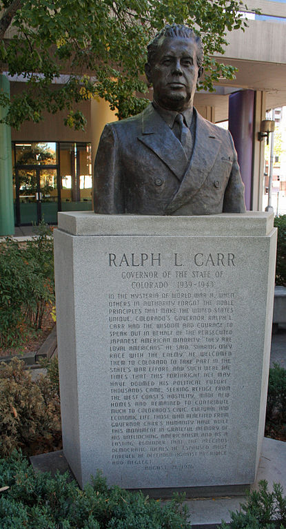 "This monument to Ralph L. Carr, World War II-era governor of Colorado, was erected in Sakura Square in the Japantown neighborhood in Denver, as the only politician in the U.S. West to oppose the internment of 110,000 Japanese-Americans after Pearl Harbor. One of the camps was located in his state. In a speech urging Coloradans to welcome the people and respect their rights, the Republican governor said, ""If you harm them, you must harm me. I was brought up in a small town where I knew the shame and dishonor of race hatred. I grew to despise it because it threatened the happiness of you and you and you."" It cost him his political career – but gave him a name that has lasted generations. (Jeffrey Beall/Wikipedia)"