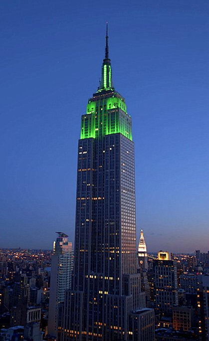 The Empire State Building on St. Patrick's Day in New York City.