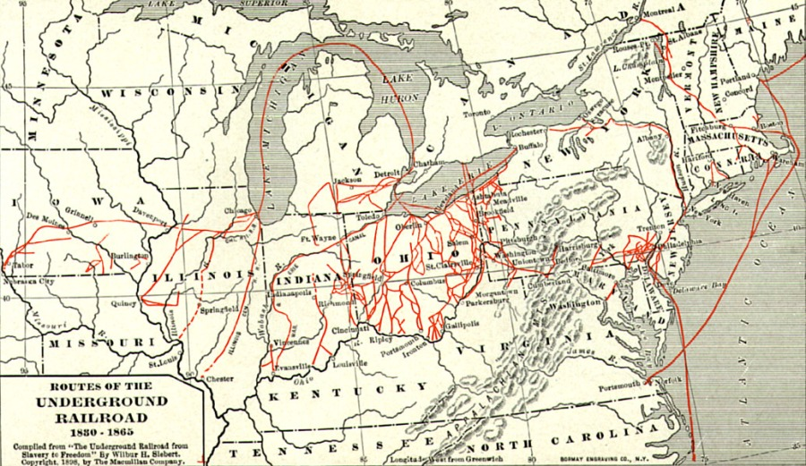 An American Exodus story: map of the Underground Railroad for escaping slaves, 1830-1865. Three of the most important cities were Philadelphia, where many abolitionist Quakers lived; Cincinnati, one of the southernmost free towns; and Detroit, across from the southernmost territory in Canada. An Indiana route along the Wabash River passes my home parish, which was a minor station.