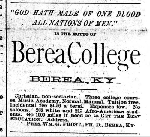 Ad for Berea College in a Minnesota newspaper in 1900.