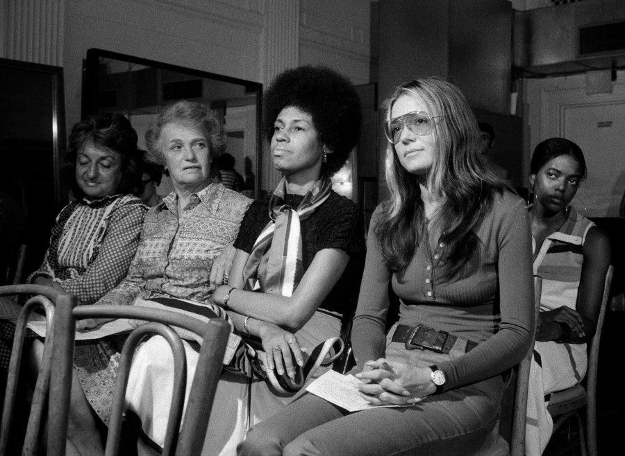 Abolitionists, Prophets and Liberators: Betty Friedan, Elinor Guggenheimer, Eleanor Holmes Norton and Gloria Steinem at the National Women's Political Caucus in 1971. (Don Hogan Charles/The New York Times)