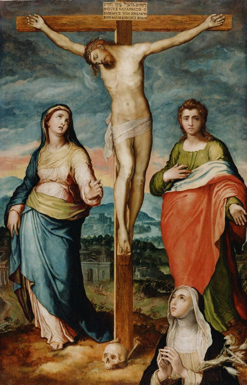 Station 12, Marco Pino: Christ on the Cross with St. Mary, St. John the Evangelist, in the vision of St. Catherine of Siena (J. Paul Getty Museum)