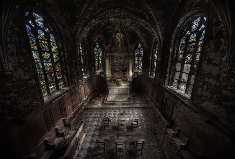 We have no idea where this church is, but there's a beauty in its decrepitude. Click to enlarge. (Dave Schreyer)