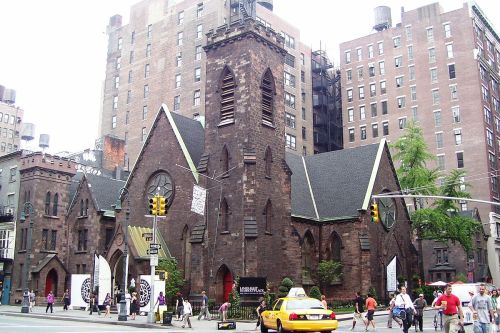 Richard Upjohn designed the Church of the Holy Communion with and for William A. Muhlenberg, as well as a Sisters' House next door for Anne Ayres, CHC. The parish thrived for a century, but by 1975 the Flatiron district was no longer residential and the church merged with two others nearby. It subsequently became a cultural center, a drug rehab facility, a notorious nightclub, and today it's the home of upscale shops. (Wikipedia)