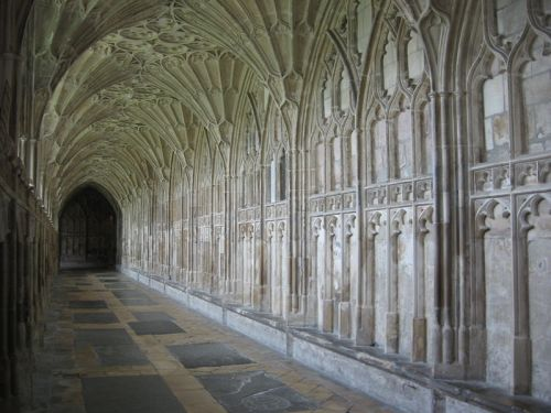 The south cloister of Gloucester Cathedral, England