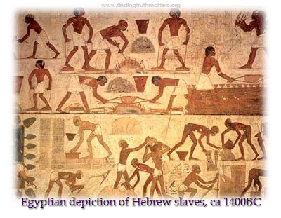 Archaeologists can't find evidence that Israelites were enslaved in Egypt, but this artwork claims otherwise. We know for sure that the Exodus became the Jews' central narrative of salvation, and it seems unlikely it was simply made up of whole cloth.(findingtruthmatters.org)