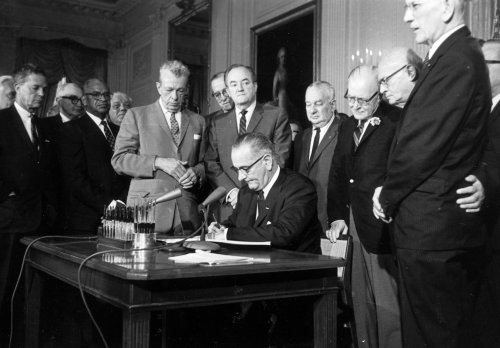Abolitionists, Prophets and Liberators: President Lyndon Baines Johnson signed the Civil Rights Act of 1964 fifty years ago, witnessed by Republican leaders Everett Dirksen and Charles A. Halleck, Democratic floor manager Hubert H. Humphrey and other Congressional allies. It's been called the most significant U.S. legislation of the 20th century. (Associated Press)