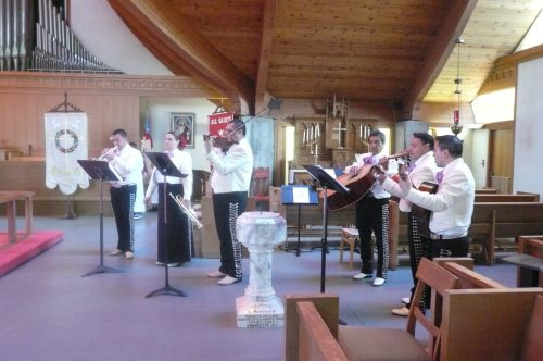 It might not be Easter at All Saints/Cristo Rey in Watsonville, California without a visit from the mariachi band. The guitarrón, third from right, amazes me; you could fit a whole catechism class in there and have room left over for a potluck supper. (Fr. Michael Dresbach via Facebook)