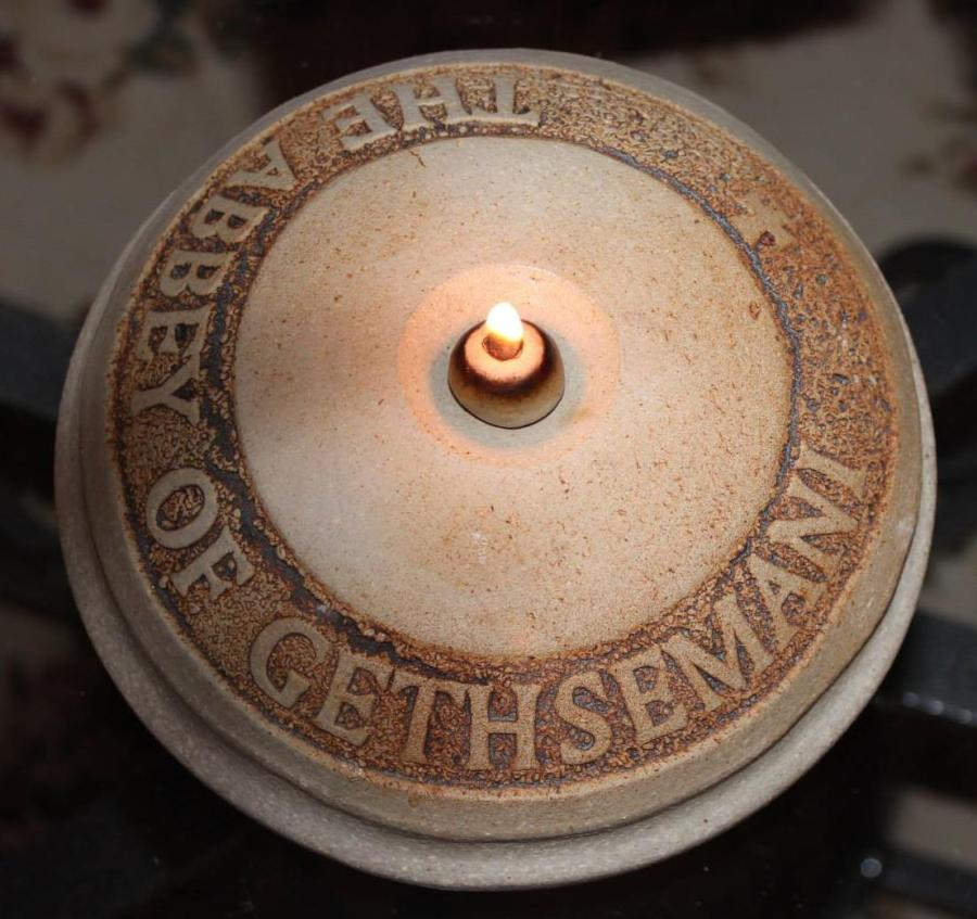 Oil lamp at Gethsemani Abbey in Kentucky, where spiritual author Fr. Thomas Merton lived and worked. (Letha Tomes Drury)