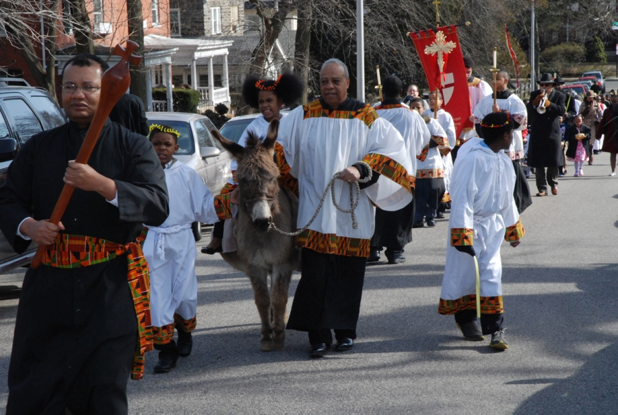 Palm Sunday procession at historic St. Thomas African Episcopal Church, Philadelphia, in 2013. (parish website)