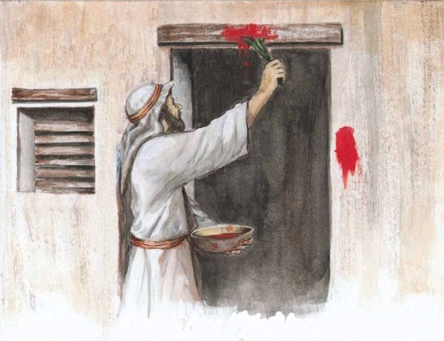 It helps to visualize these directions: mark the frame of your door with the sprigs of an herb dipped in the blood of the sacrifice. (artist unknown)