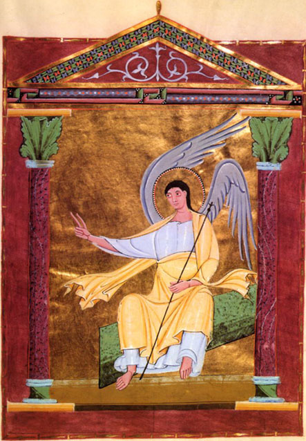Made by hand a thousand years ago for Henry II, the Holy Roman Emperor, from the Abbey of Reichenau: Angel on Tomb, from the Pericopes of Henry II, Folio 117r, circa 1002-1012. (Bavarian State Library, Munich)
