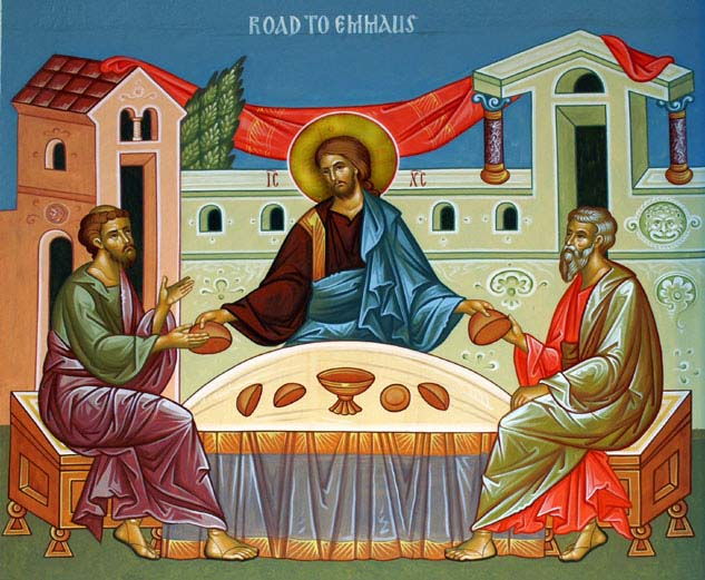 Breaking bread on the road to Emmaus.