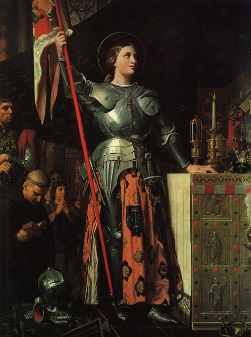 Jean Ingres, 1854: Joan of Arc at the Coronation of Charles VII. As a child she received visions of saints calling her to rescue France from a civil war of succession between two royal houses. She led troops into battle and won at Orléans, but was later tried as a heretic and a witch, probably for being a powerful woman, and put to death. One Pope declared her innocent after the fact and another canonized her in 1920. She is a patron saint of France.