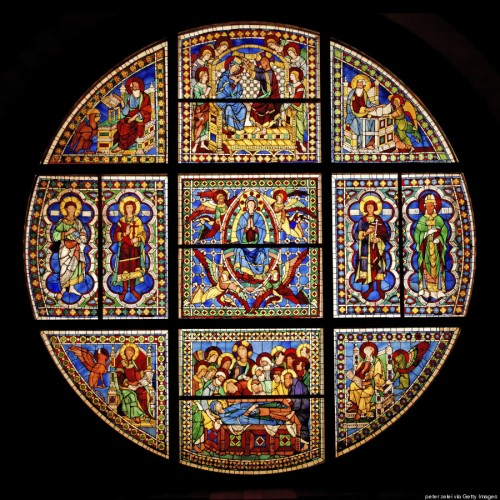 The Huffington Post recently had a marvelous photo feature highlighting religious stained glass from Jewish, Muslim and Christian sources. This is from Siena Cathedral in Italy; click to enlarge. (Getty Images)