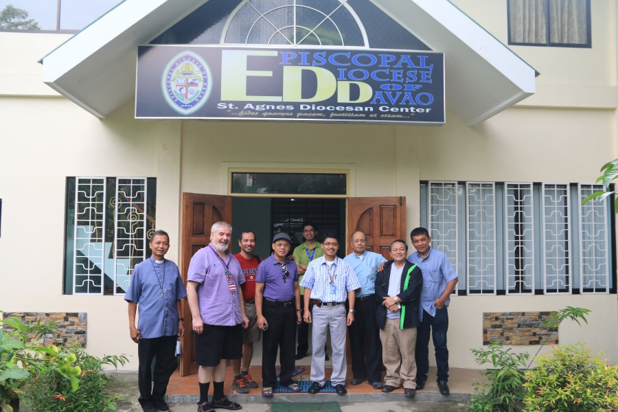 Leaders of the new (2011) Diocese of Davao. The bishop, the Rt. Rev. Jonathan L. Casimina, is fourth from the right. Their territory is a mostly unchurched area on Mindinao; they get some support from the Anglican Board of Mission – Australia. (diocesan website)