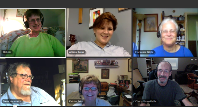 Here is a screen-grab from yesterday's webcast: Debbie is a priest, Allison is an artist, Francesca does prison ministry, Steve is a retired scientist and Lutheran layman who has served high up in the regional hierarchy; Katrina is a retired teacher who led our service yesterday, while Clint, our Subdeacon, IT volunteer and daily worship leader, compiled these images. We want people who might be interested in the webcast but feel a little unsure, to see what it looks like. You just download some free, quick software with the link above, turn on your webcam and microphone and you're here. You don't have to be seen or say a word if you don't want to, but you're invited and we'd love to have you. Do these people look scary? Click to enlarge.