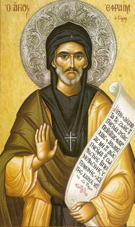St. Ephrem was an early writer of hymns and understood how useful they are in converting the soul. (Iconographer unknown; found at iconreader.wordpress.com)