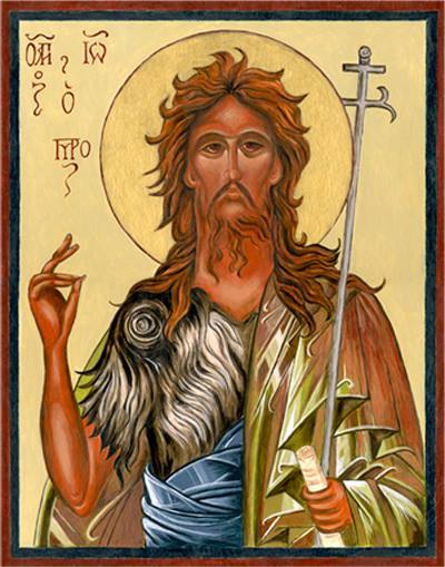 John the Baptist, a pretty rough-looking character resh off the desert with a message of repentance. (Iconographer unknown)