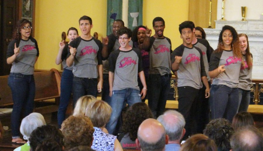 "At ""St. Paul's Presents"" in Jeffersonville, Indiana, students from the local high school performed scenes from the Broadway revue ""Smokey Joe's Café"" last week, raising money for the Clark County Youth Shelter. (via Facebook)"