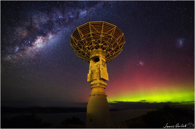 The Southern Lights as seen at the Tasmanian Earth Resources Satellite Station, Hobart, Australia.