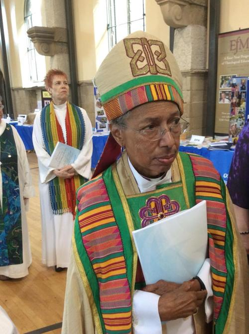 Barbara C. Harris, the first woman bishop (1988), was the senior warden at Church of the Advocate when the Philadelphia 11 were ordained, and served as an acolyte at that service. Above, she attended the 40th anniversary celebration last Saturday at her old parish. (The Rev. Sandye A. Wilson on Facebook)