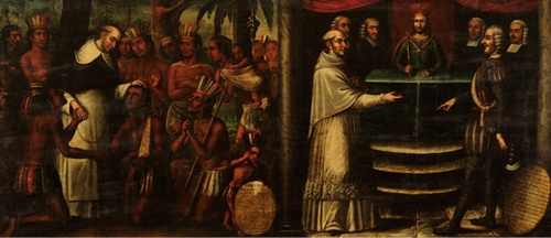 Bartolomé de las Casas diptych, attributed to Antonio Palacios y los hermanos Cabrera, c. 1837, Museo Histórico Domínico, Santiago de Chile. We see both his pastoral ministry and his efforts to persuade Church and emperor to ban the enslavement of aboriginal peoples in the Caribbean.