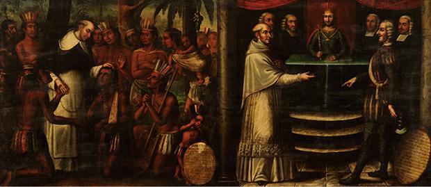 Bartolomé de las Casas diptych, attributed to Antonio Palacios y los hermanos Cabrera, c. 1837, Museo Histórico Domínico, Santiago de Chile. We see both his pastoral ministry and his efforts to persuade Church and emperor to ban the enslavement of aboriginal peoples in the Caribbean.