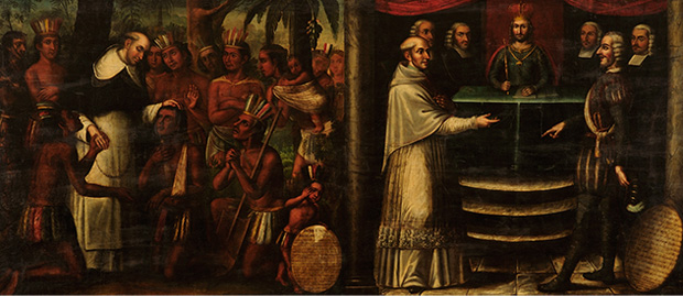 Bartolomé de las Casas diptych, attributed to Antonio Palacios y los hermanos Cabrera, c. 1837: we see both his pastoral ministry among the indiegenous peoples, left, and his efforts to persuade the Church hierarchy and the king of Spain to ban the enslavement of Africans and aboriginal peoples in Spanish America. He was trying to prevent the Church from participating in crimes against humanity. (Museo Histórico Domínico, Santiago de Chile)