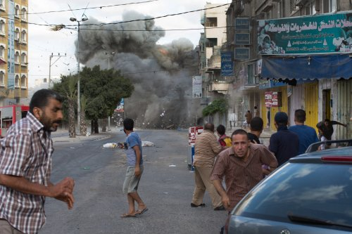 A bomb exploding in Gaza City on Friday. (Tyler Hicks/The New York Times)