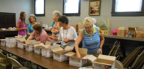 Women of Trinity Church, Lawrenceburg, Indiana, assembled care packages last week for U.S. troops overseas. It's nice to see someone still remembers. (Diocese of Indianapolis via Facebook)