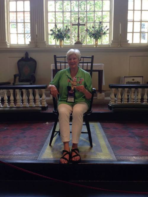 The Bishop of Indianapolis, Catherine M. Waynick, sitting in the Bishop's Chair at historic Christ Church, Philadelphia, Pennsylvania, in conjunction with the Episcopal Youth Event this week. The bishops seem to enjoy going to EYE, not only for the worship and mission, but the chance to get away and relax with people. (via Facebook)
