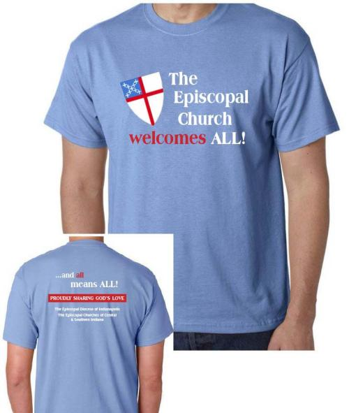 "The Diocese of Indianapolis, USA, is selling these T-shirts to buy food, shelter and malaria nets for people in the Diocese of Bor, South Sudan, who are threatened with famine due to war. The shirts, with their inclusive message of welcome, debuted in an entirely different context last month at the Circle City Pride Parade – but then, ""All means all."""